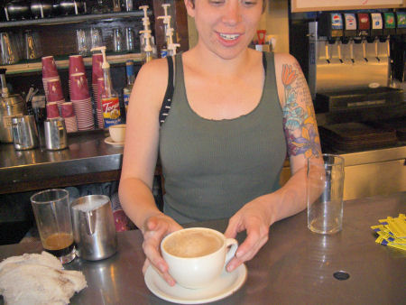 Barista at the Cafe Med.