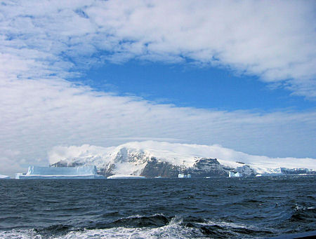 Bouvet Island with ice burgs