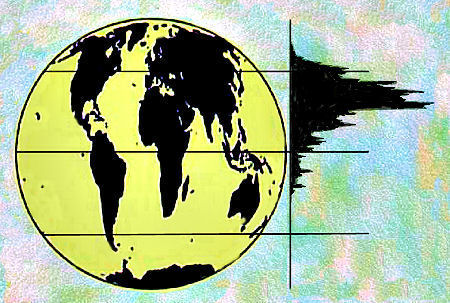 Earth's population by latitude.