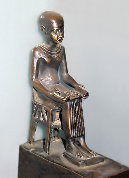 Imhotep statuet in the Louvre. He is the first known physiscian