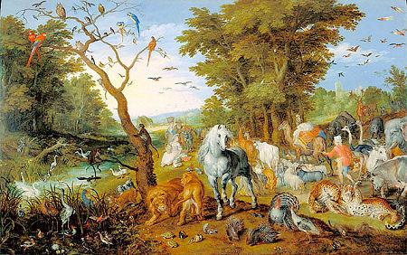 Animals gather to enter Noah's Ark by Jan Brueghel.
