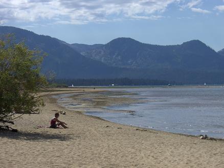 On the beach of Lake Tahoe