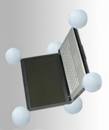 Falling laptop computer with balloons deployed.