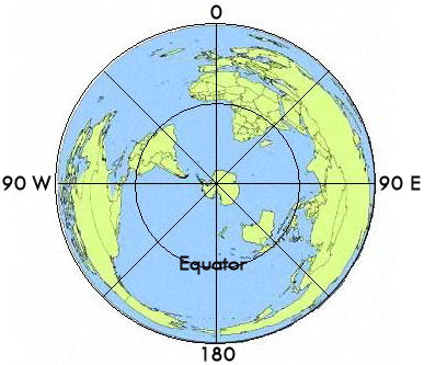 South Pole projection including the Northern Hemisphere