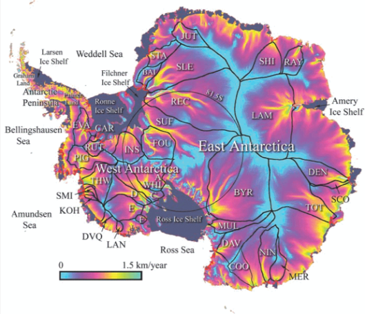 Speed of ice flow in Antarctica. From Rapley