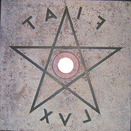 FIAT LUX in reverse with a pentacle at the Berkeley, Campanille
