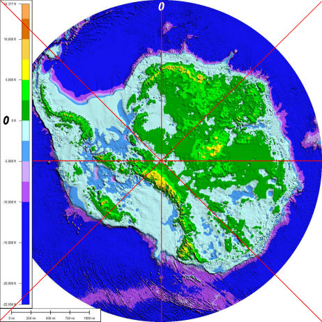 "Antarctica altitudes - pale green to dark green is ""Sea Level"""