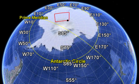 Google Earth image of Antarctica showing the area scanned.