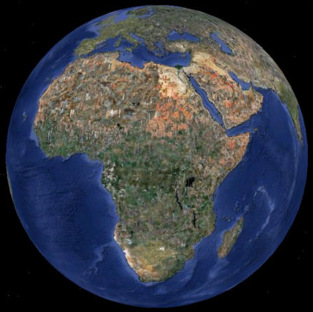 Earth as seen from over Central Africa.