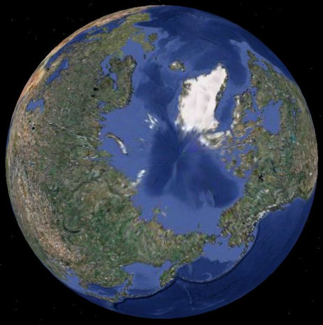 View of Earth from above the North Pole