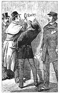 Sherlock Holmes inspects the word Rache