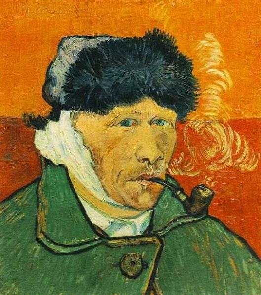 Van Gogh painting with bandaged ear