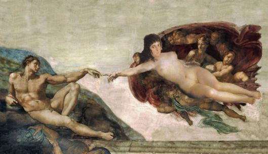 Michaelangelo's Adam and Goya's Eve combined