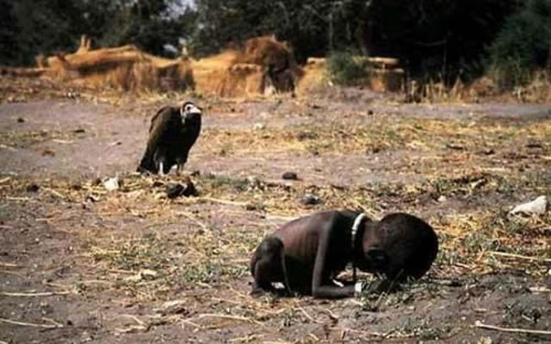 A vulture waiting for a starving child to die.