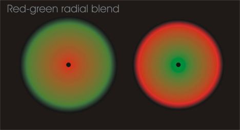 Green-red radial crosseye blend