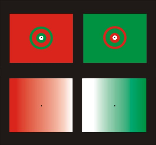 Optical illusions with red and green blends