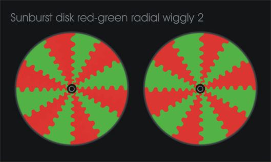 Sunbrust disk red-green radial wiggly #2
