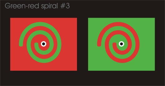 Crosseye experiment with a green-red spiral