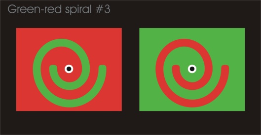 Crosseye experiments with a green-red spiral