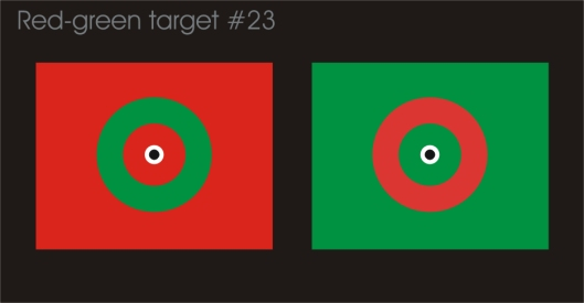 Crosseye red-green target #23 with a hard edge between red and green