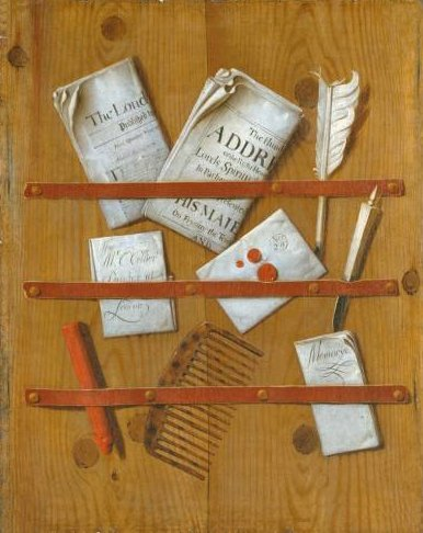 Edward Collier's painting of newspapers and letters held on a board.