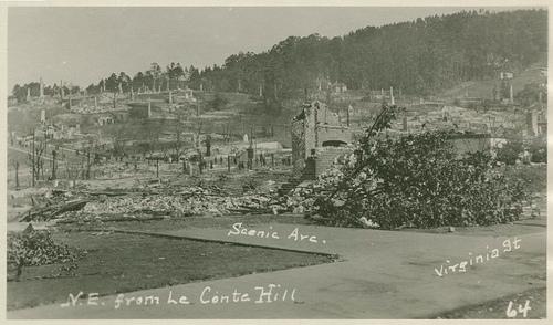 1923 Berkeley fire site north of UC Berkeley campus