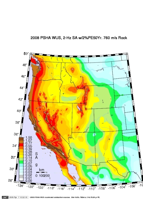 Chart of where earthquakes are to be expected in the Western United States