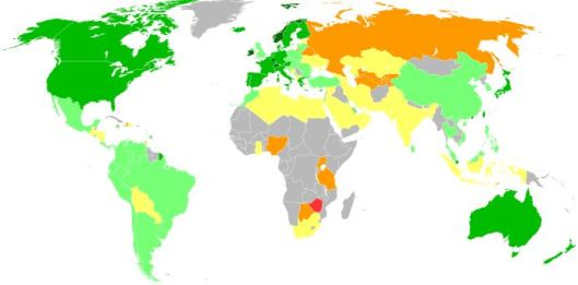 Map showing the quality of Life Index Scores from Wikipedia