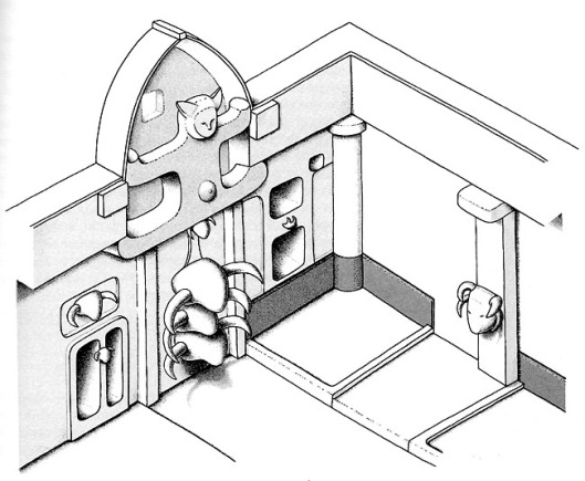 Bull heads temple