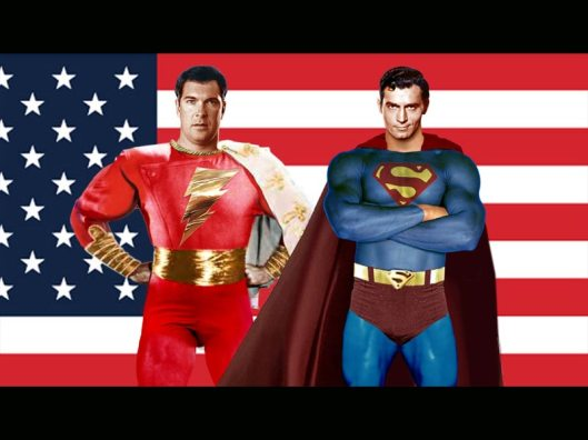 Captain Marvel and Superman pose in front of US flag