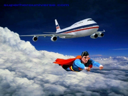 Superman flying in formation with a 747
