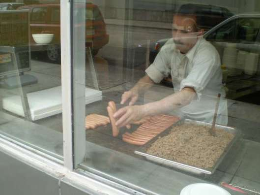 Making of a Coney Island sandwitch