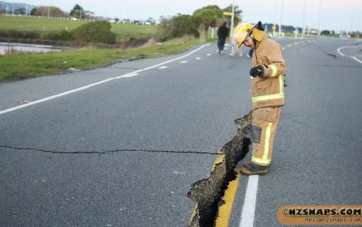 Christchurch earthquake damage location near Bridge Street bridge.
