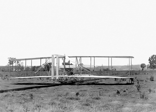 Wright brothers airplane on Huffman Prairie Dayton Ohio