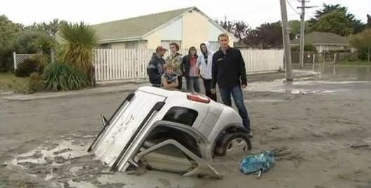 Christchurch car sunk into sand