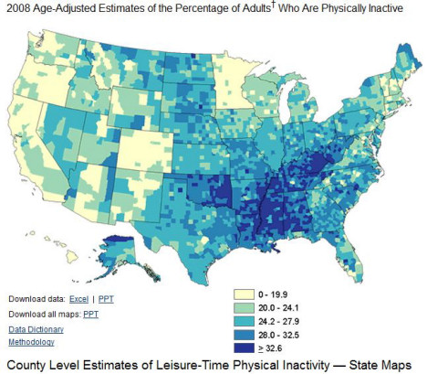 Leisure-Time Physical Inactivity by county in the United States
