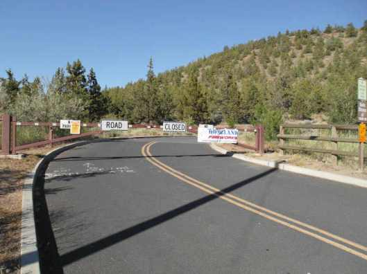 Pilot Butte Bend Oregon the entrance to the drive to the top.