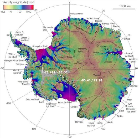 Antarctica ice flow from NASA