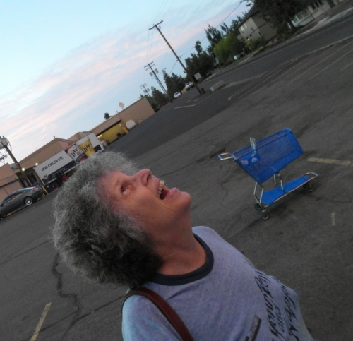 Debbie looks at the clouds