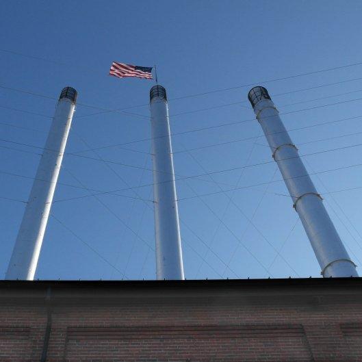 Bend Oregon Old Mill chimneys