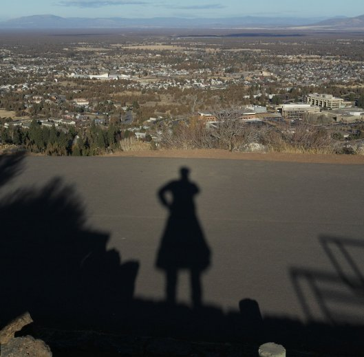 View to the northeast from Pilot Butte, Oregon, with shadow