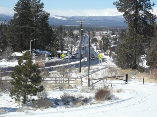 Vies of Greenwood avenue toward downtown Bend, Oregon