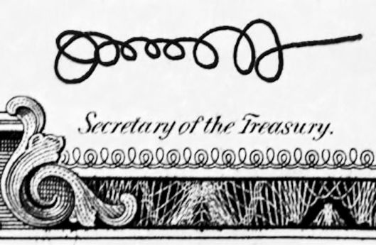 Oooooooo, the new Secretary of the Treasury's signature is beautiful.