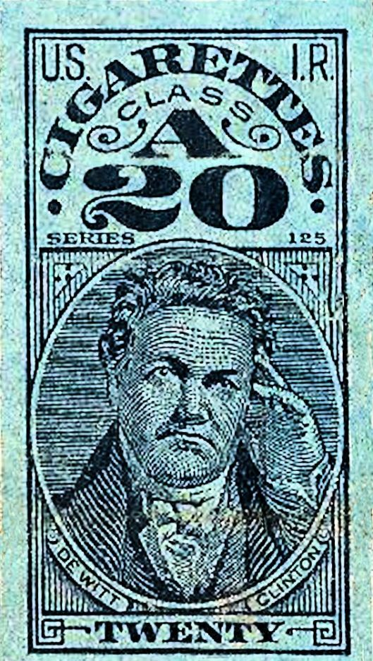 De Witt Clinton cigarette tax stamp was on billions of cigarette packs.