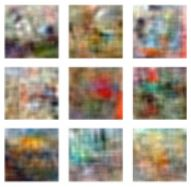 A set of 9 blurry images used for experiments in human vision.