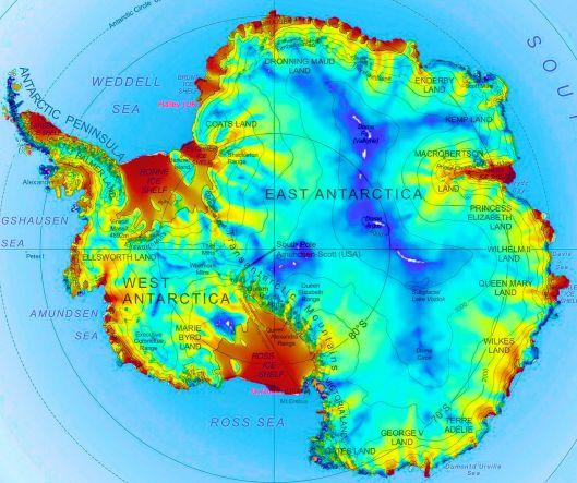 18 white areas of slow moving ice shown in Antarctica