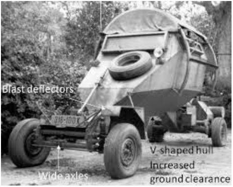 Leopard road-blast deflecting truck