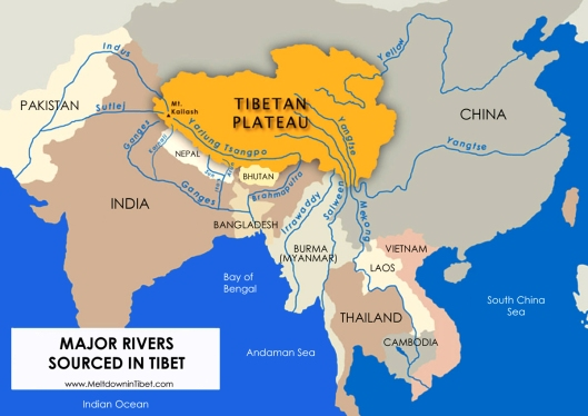 Rivers flowing out of Tibet.