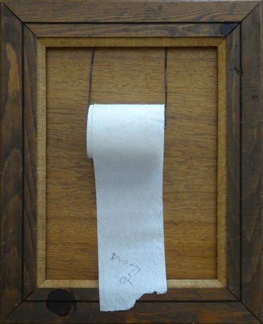 A photograph of a framed roll of toilet paper.