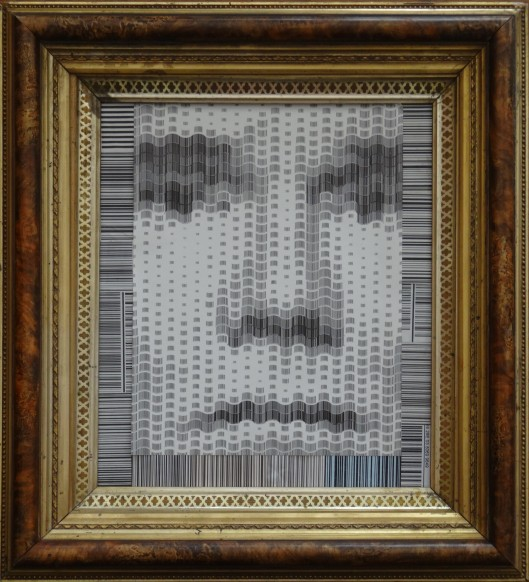 A photograph of a photograph in halftone in bar-code.
